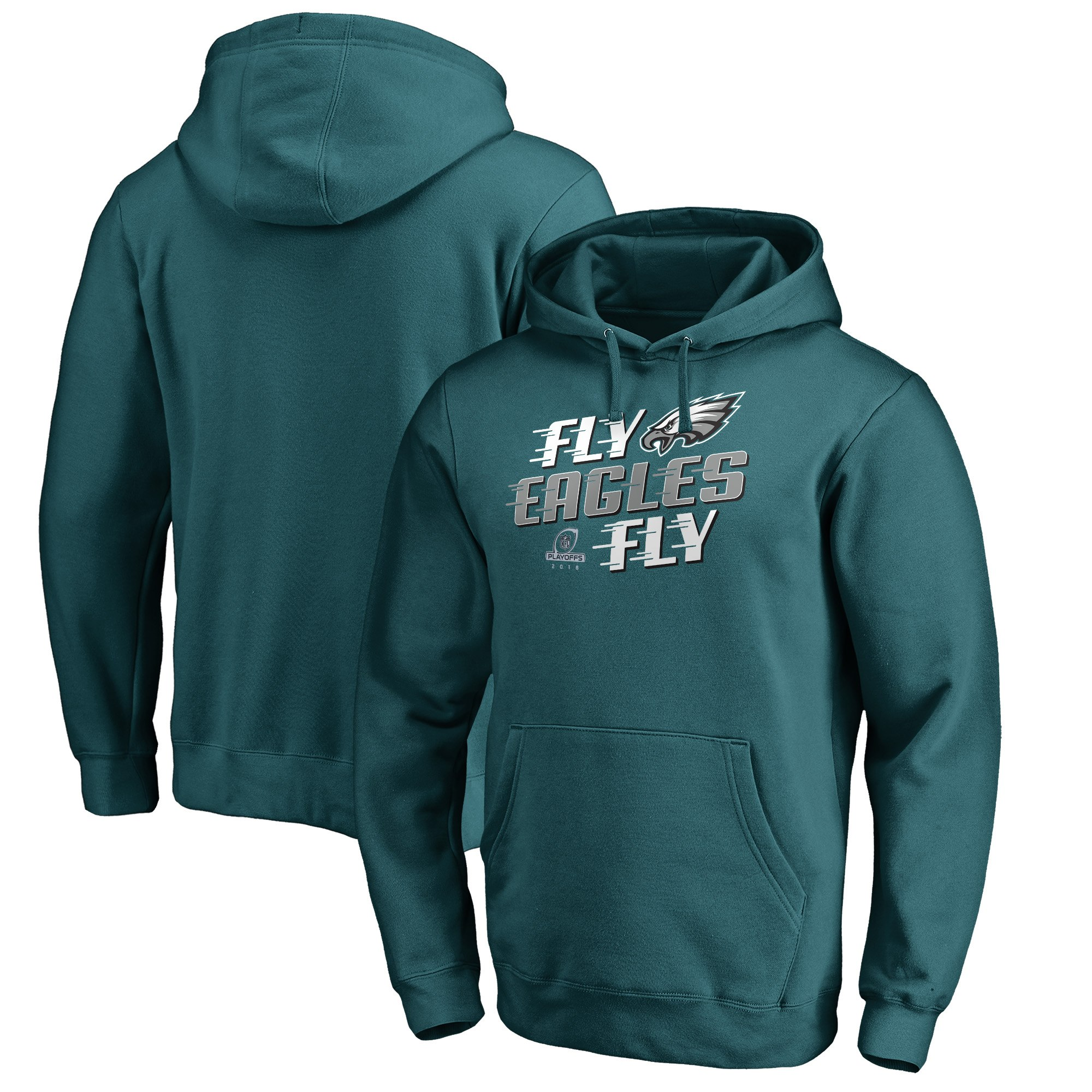 Eagles Green 2018 NFL Playoffs Fly Men's Pullover Hoodie