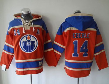 Edmonton Oilers #14 Jordan Eberle Orange Sawyer Hooded Sweatshirt Stitched NHL Jersey