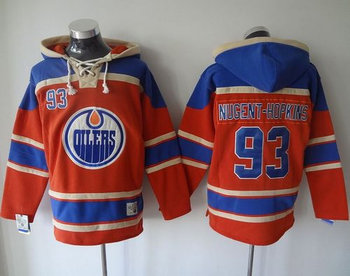 Edmonton Oilers #93 Ryan Nugent-Hopkins Orange Sawyer Hooded Sweatshirt Stitched NHL Jersey