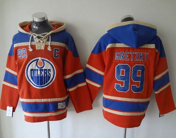 Edmonton Oilers #99 Wayne Gretzky Orange Sawyer Hooded Sweatshirt Stitched NHL Jersey
