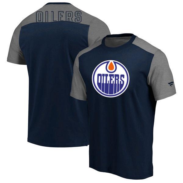 Edmonton Oilers Fanatics Branded Big & Tall Iconic T-Shirt Navy Heathered Gray
