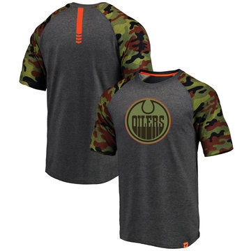 Edmonton Oilers Fanatics Branded Heathered Gray Camo Recon Camo Raglan T-Shirt