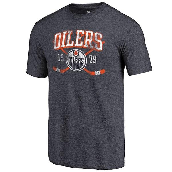 Edmonton Oilers Fanatics Branded Navy Vintage Collection Line Shift Tri Blend T-Shirt