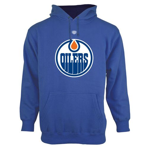 Edmonton Oilers Old Time Hockey Big Logo with Crest Pullover Hoodie Royal Blue