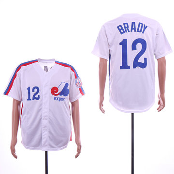 Expos 12 Tom Brady White Throwback Jersey