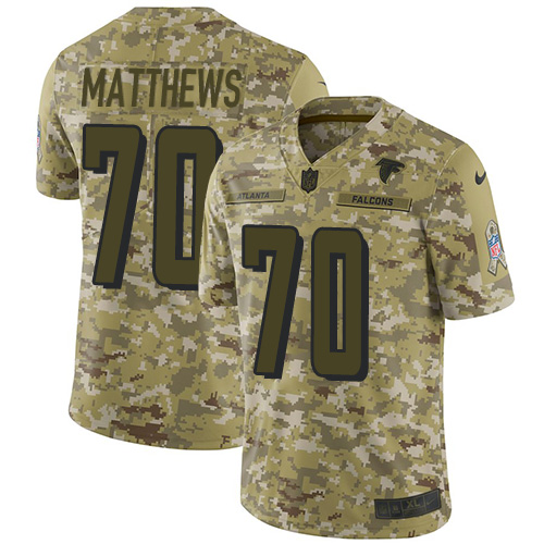 Falcons #70 Jake Matthews Camo Youth Stitched Football Limited 2018 Salute to Service Jersey
