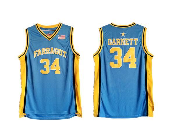 Farragut 34 Kevin Garnett Blue High School Basketball Jersey