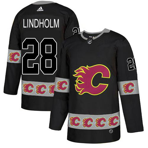 Flames #28 Elias Lindholm Black Authentic Team Logo Fashion Stitched Hockey Jersey