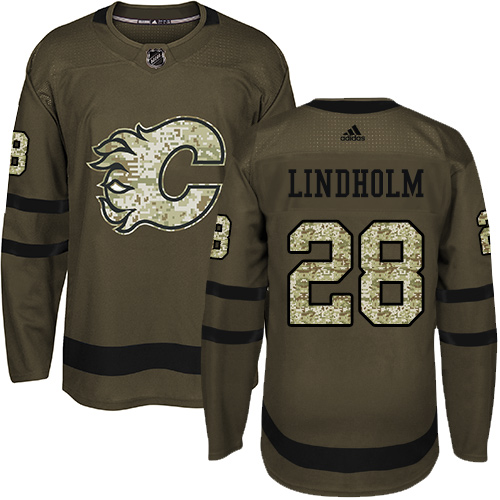 Flames #28 Elias Lindholm Green Salute to Service Stitched Hockey Jersey
