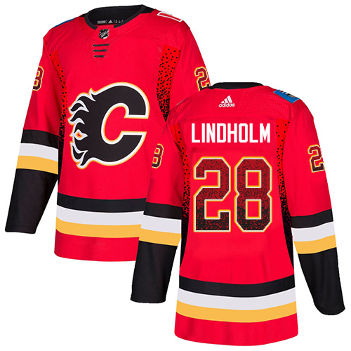 Flames #28 Elias Lindholm Red Home Authentic Drift Fashion Stitched Hockey Jersey