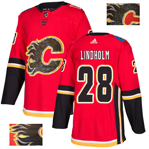 Flames #28 Elias Lindholm Red Home Authentic Fashion Gold Stitched Hockey Jersey