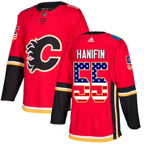 Flames #55 Noah Hanifin Red Home Authentic USA Flag Stitched Hockey Jersey