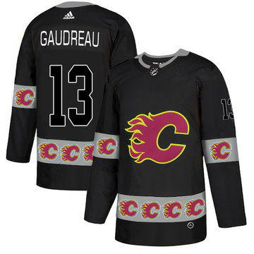 Flames 13 Johnny Gaudreau Black Team Logos Fashion Adidas Jersey