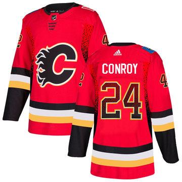 Flames 24 Craig Conroy Red Drift Fashion Adidas Jersey