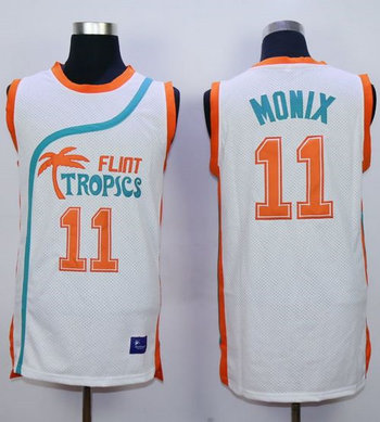 Flint Tropics #11 Ed Monix White Semi-Pro Movie Stitched Basketball Jersey
