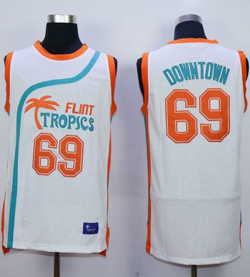Flint Tropics #69 Downtown White Semi-Pro Movie Stitched Basketball Jersey
