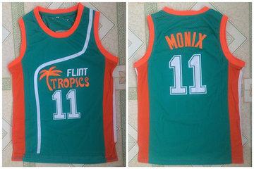 Flint Tropics 11 Ed Monix Green Semi Pro Movie Stitched Basketball Jersey
