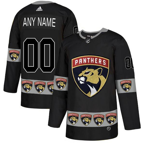 Florida Panthers Black Men's Customized Team Logos Fashion Adidas Jersey