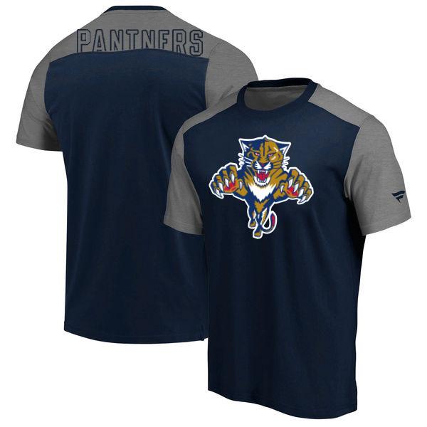 Florida Panthers Fanatics Branded Big & Tall Iconic T-Shirt Navy Heathered Gray