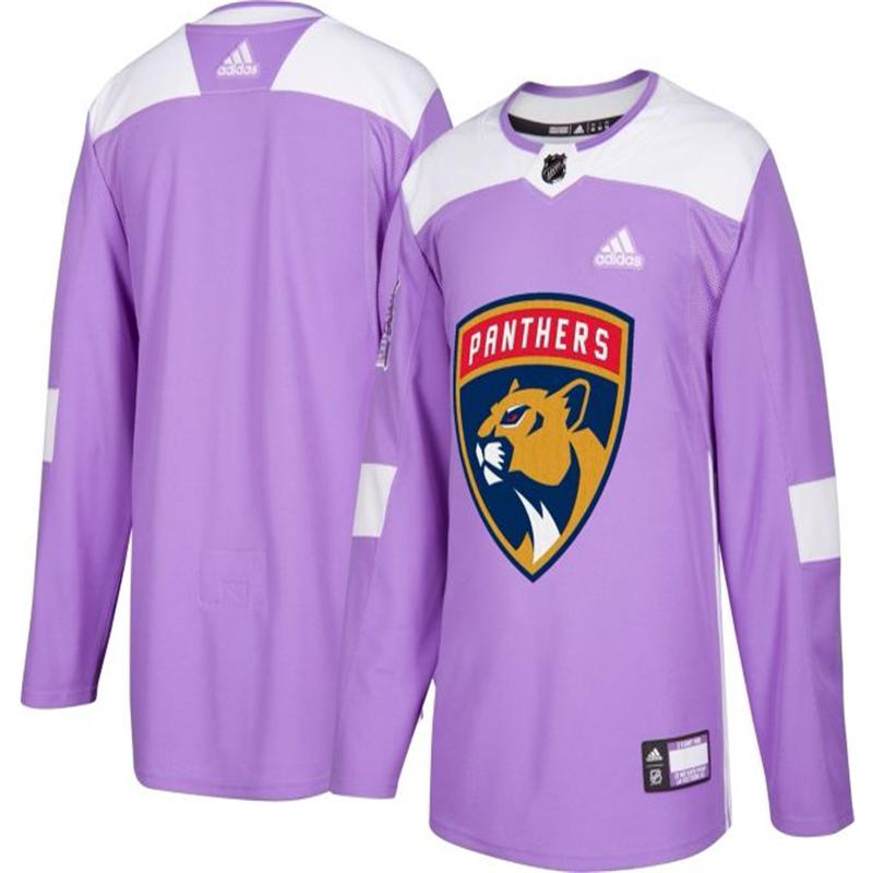 Florida Panthers Purple Adidas Hockey Fights Cancer Custom Practice Jersey