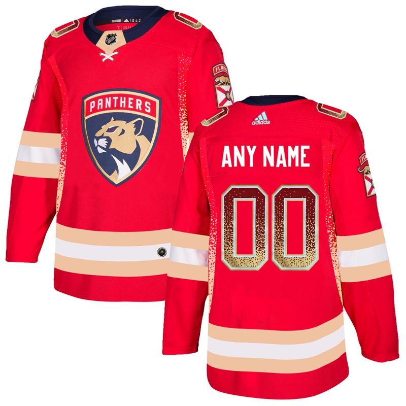 Florida Panthers Red Men's Customized Drift Fashion Adidas Jersey