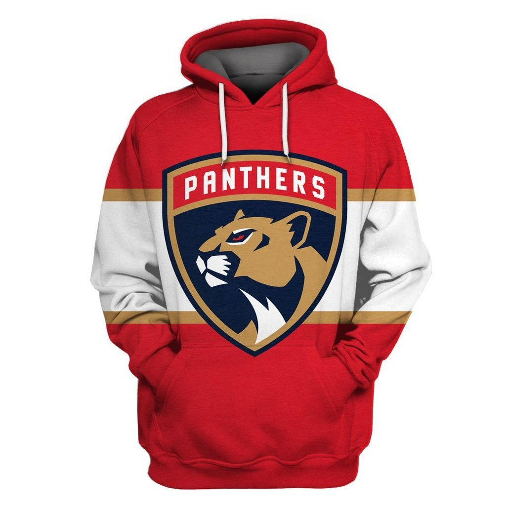 Florida Panthers Red White All Stitched Hooded Sweatshirt