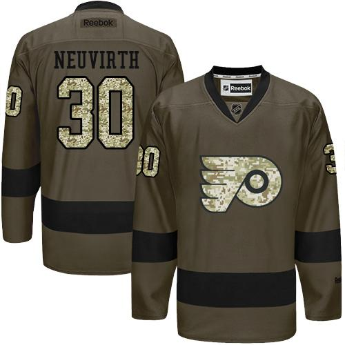 Flyers #30 Michal Neuvirth Green Salute to Service Stitched NHL Jersey