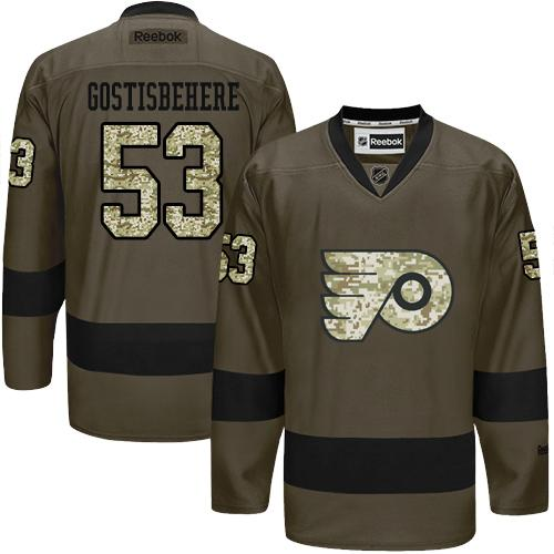 Flyers #53 Shayne Gostisbehere Green Salute to Service Stitched NHL Jersey
