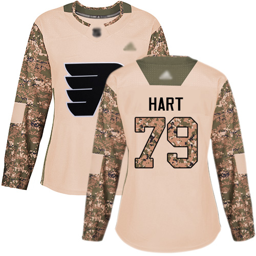 Flyers #79 Carter Hart Camo Authentic 2017 Veterans Day Women's Stitched Hockey Jersey