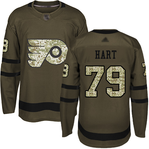 Flyers #79 Carter Hart Green Salute to Service Stitched Hockey Jersey