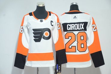 Flyers 28 Claude Giroux White Women Adidas Jersey