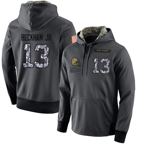Football Men's Cleveland Browns #13 Odell Beckham Jr Stitched Black Anthracite Salute to Service Player Performance Hoodie