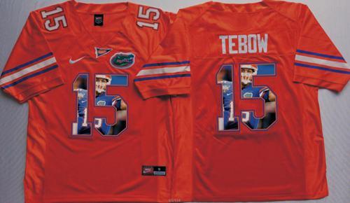 Gators #15 Tim Tebow Orange Player Fashion Stitched NCAA Jersey