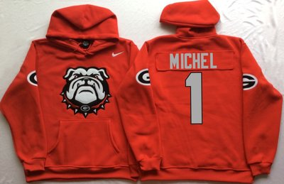 Georgia Bulldogs 1 Sony Michel Red Men's Pullover Hoodie