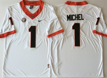 Georgia Bulldogs 1 Sony Michel White College Football Jersey