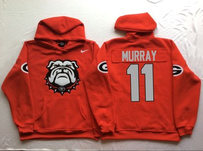 Georgia Bulldogs 11 Aaron Murray Red Men's Pullover Hoodie