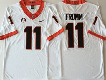 Georgia Bulldogs 11 Jake Fromm White College Football Jersey