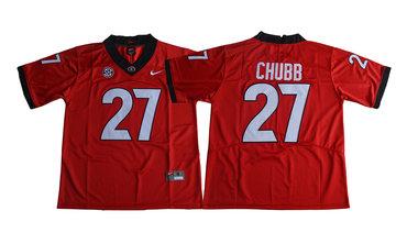 Georgia Bulldogs 27 Nick Chubb Red College Football Jersey