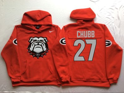 Georgia Bulldogs 27 Nick Chubb Red Men's Pullover Hoodie
