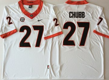 Georgia Bulldogs 27 Nick Chubb White College Football Jersey