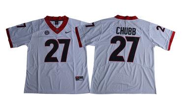 Georgia Bulldogs 27 Nick Chubb White College Football Jersey