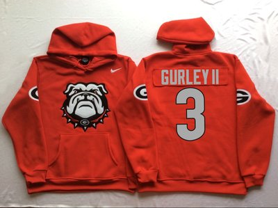 Georgia Bulldogs 3 Todd Gurley II Red Men's Pullover Hoodie