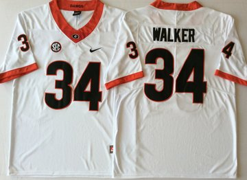 Georgia Bulldogs 34 Herchel Walker White College Football Jersey