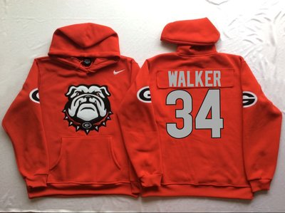 Georgia Bulldogs 34 Herschel Walker Red Men's Pullover Hoodie
