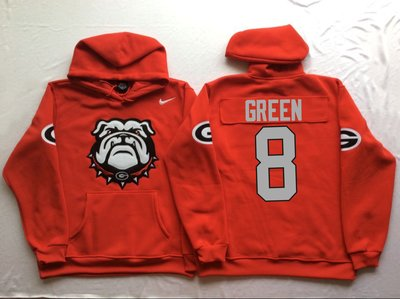 Georgia Bulldogs 8 A.J. Green Red Men's Pullover Hoodie