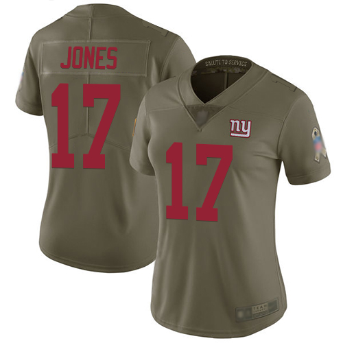 Giants #17 Daniel Jones Olive Women's Stitched Football Limited 2017 Salute to Service Jersey