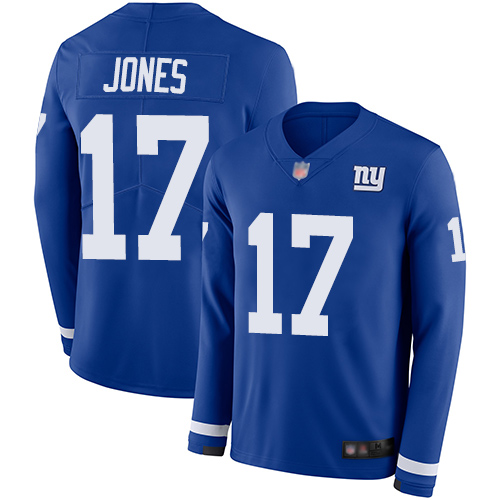 Giants #17 Daniel Jones Royal Blue Team Color Men's Stitched Football Limited Therma Long Sleeve Jersey