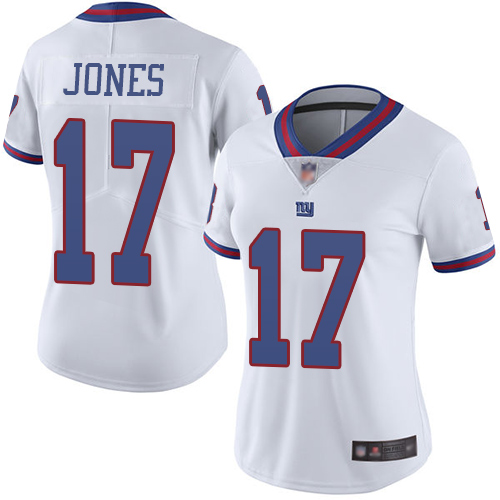 Giants #17 Daniel Jones White Women's Stitched Football Limited Rush Jersey
