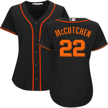 Giants #22 Andrew McCutchen Black Alternate Women's Stitched MLB Jersey