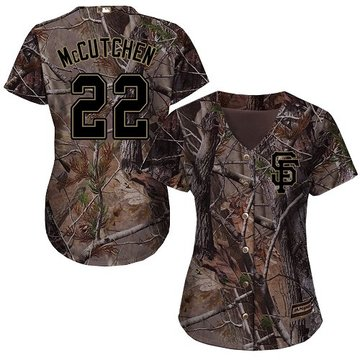 Giants #22 Andrew McCutchen Camo Realtree Collection Cool Base Women's Stitched Baseball Jersey